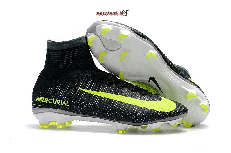 Scarpe da Calcetto Nike Mercurial Superfly V CR7 FG Nero Giallo Fluorescente