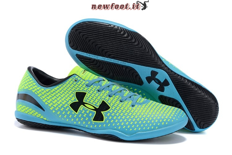 Scarpe da Calcetto Under Armour Clutchfit Force INIC Nero Blu Verde Fluorescente